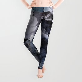Dark Moody Chaos and Blue Abstract Painting Leggings