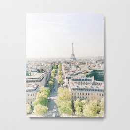 View of Paris from the Arc de Triomphe | View of Eiffel Tower, Paris, France | Travel Photography Metal Print
