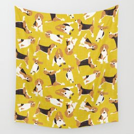 beagle scatter yellow Wall Tapestry