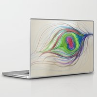 peacock feather Laptop & iPad Skins featuring Peacock Feather by Aries Art