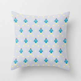 Rockets and stars pattern Throw Pillow