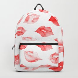 Watercolor red lips pattern Backpack