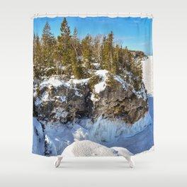 Winter Seaside Cliff Shower Curtain