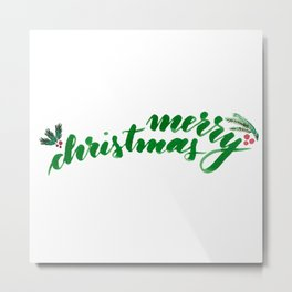 Merry Christmas - green Metal Print