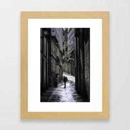 Pilgrim in Santiago de Compostela; after the walk Framed Art Print