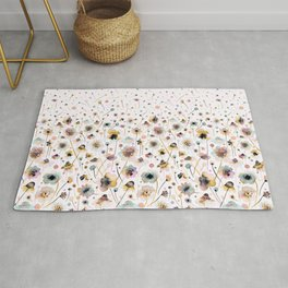 Wild flowers sunshine gold Rug