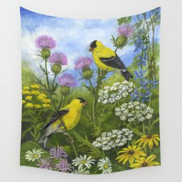 Goldfinches and Thistle Wall Tapestry