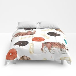 Bulldogs and donuts Comforters