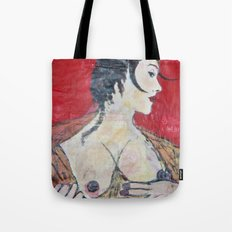 PORTRAIT OF A LADY EXPOSING HER TITS Tote Bag