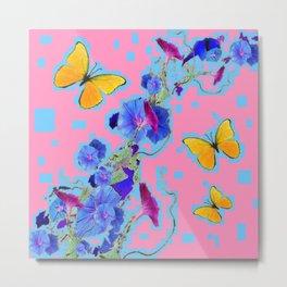 Pink Golden Butterflies Blue Morning Glory Pattern Art Metal Print