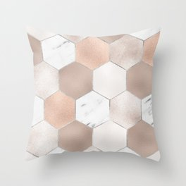 Rose pearl and marble hexagons Throw Pillow