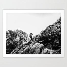 Boys Adventure | Rustic Camping Kid Red Rocks Climbing Explorer Black and White Nursery Photograph Art Print