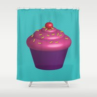 tooth Shower Curtains featuring Sweet Tooth by Neeti