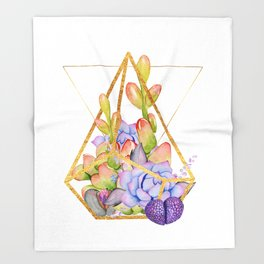 Succulent Geometry gold wire geometric frames Throw Blanket