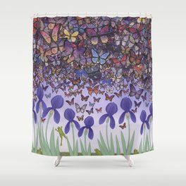 butterflies aflutter above irises and frogs Shower Curtain