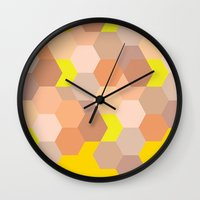 honeycomb Wall Clocks featuring Honeycomb  by Colocolo Design | www.colocolodesign.de