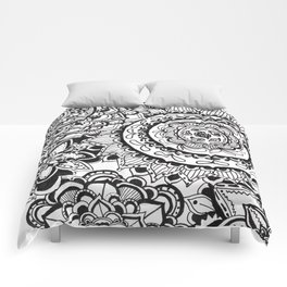 Black & White Zentangle Pattern Doodle Comforters