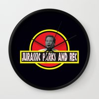 parks and recreation Wall Clocks featuring Jurassic Parks And Rec by anthonykun