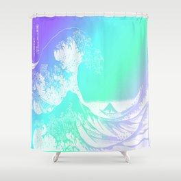 The Great Wave Purple Mint Aqua Shower Curtain