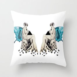 Fragmented Triangle - Butterfly Goddess Throw Pillow