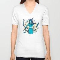 archer V-neck T-shirts featuring Archer Elf by Thomas Orrow