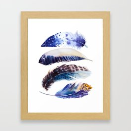four feathers in blue Framed Art Print