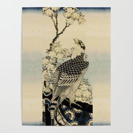 Hokusai -falcon next to a plum tree in bloom - 葛飾 北斎,hawk,bird. Poster