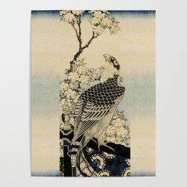 Hokusai -falcon next to a plum tree in bloom - 葛飾 北斎,hawk,bird. Poster