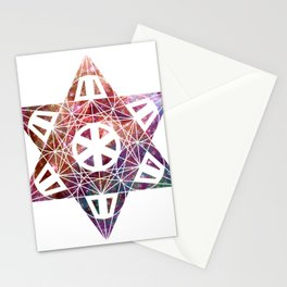 Metatron's Cube Time Wheel ~ Space Cotton Candy Stationery Cards