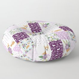 Corgi Patchwork Print - purple ,florals , floral, spring, girls feminine corgi dog Floor Pillow