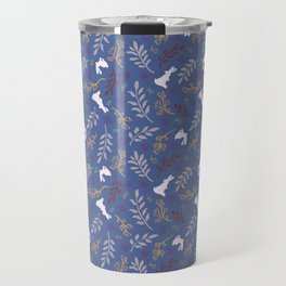 Ditsy Bunnies Amok - Lt Bunnies, Blue Background Travel Mug