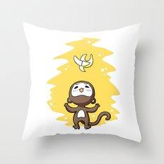 Monkey Banana Throw Pillow