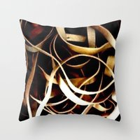 bands Throw Pillows featuring Rubber Bands by Carsick T-Rex