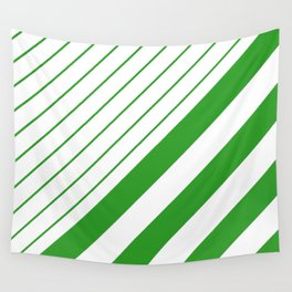 Green And White Stripes Pattern Wall Tapestry