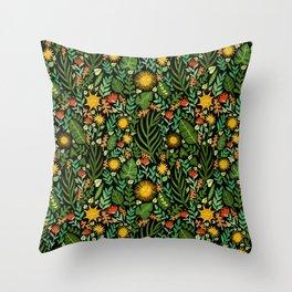 Sunshine Botanical - Dark Version Throw Pillow