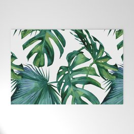Classic Palm Leaves Tropical Jungle Green Welcome Mat