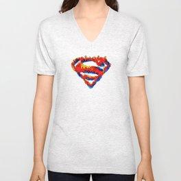 Superman in Flames Unisex V-Neck