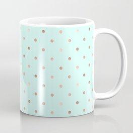Mint & Rose Gold Polka Dot Pattern Coffee Mug
