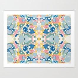 Vintage Marbled Paper Art Print