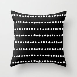 Boho Mudcloth Dots Pattern White and Black Throw Pillow