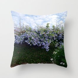 Blue flowers and skies Throw Pillow