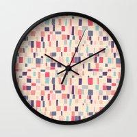 grid Wall Clocks featuring grid by Marta Olga Klara