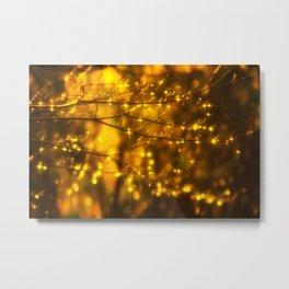 Sparkling Drops-yellow Metal Print