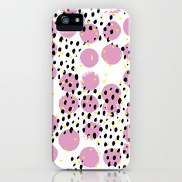 Dots and dashes pop rain colorful abstract design pink iPhone Case
