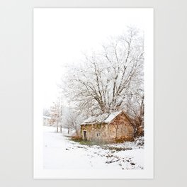 The Old Spring House in Winter Art Print