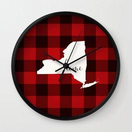 New York is Home - Buffalo Check Plaid Wall Clock