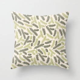 spruce needle - merry christmas print Throw Pillow