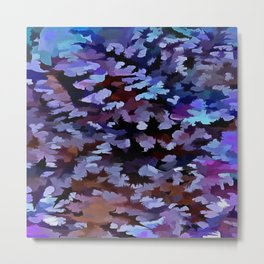 Foliage Abstract In Blue and Lilac Tones Metal Print