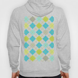 Retro 1980s Argyle Geometric Pattern in Modern Bright Colors Blue Green and Gray Hoody