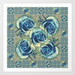 Blue Rose Garden Quilt Square Art Print